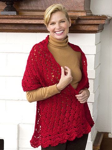 Woman in red crocheted shawl