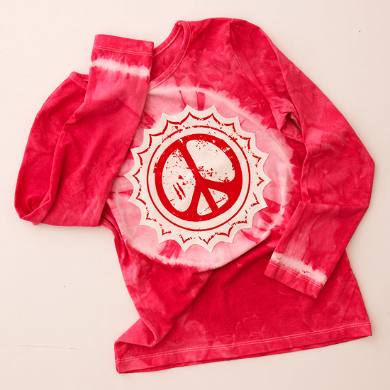 Pink tie-dyed peace T-shirts