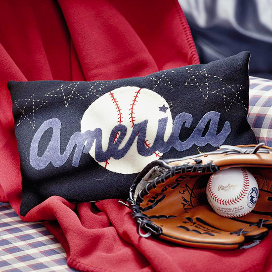 baseball-theme pillow