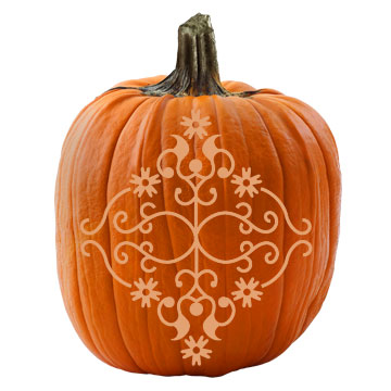 Victorian Damask Stencil and Pumpkin