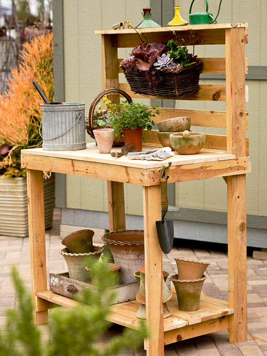 pallet furniture projects. Potting Bench How-To Pallet Furniture Projects