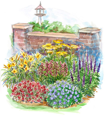 Easy-Care Garden Plan for Small Spaces in the South Illustration