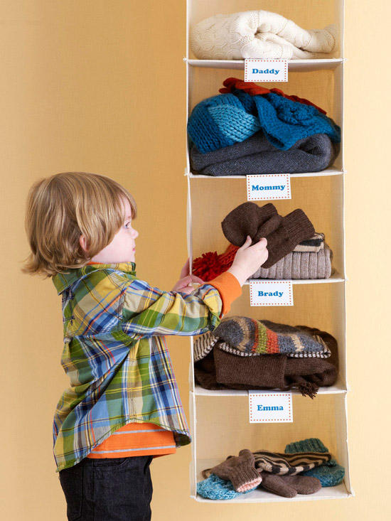 Child organizing clothes