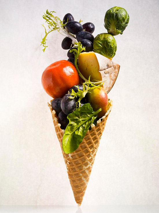 Waffle cone with vegetables