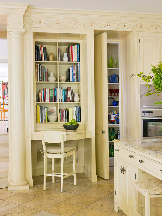Symmetrical built-in bookcase