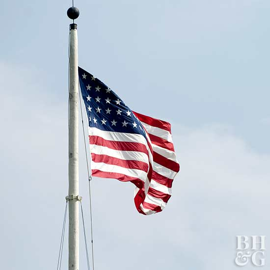 American flag flying on pole