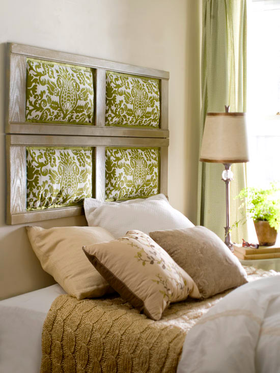 Shutter headboard with green fabric