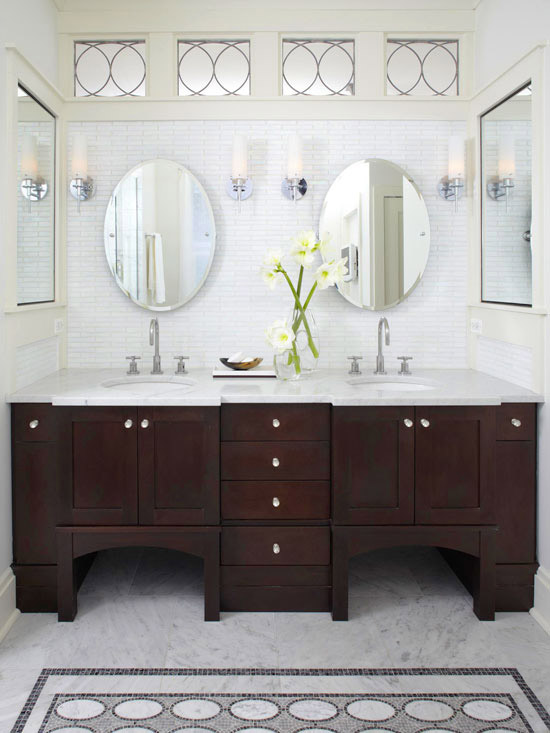 White walls with dark wood vanity