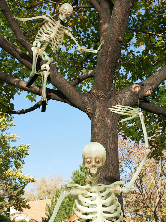 Playful Leaf-Jumping Skeletons