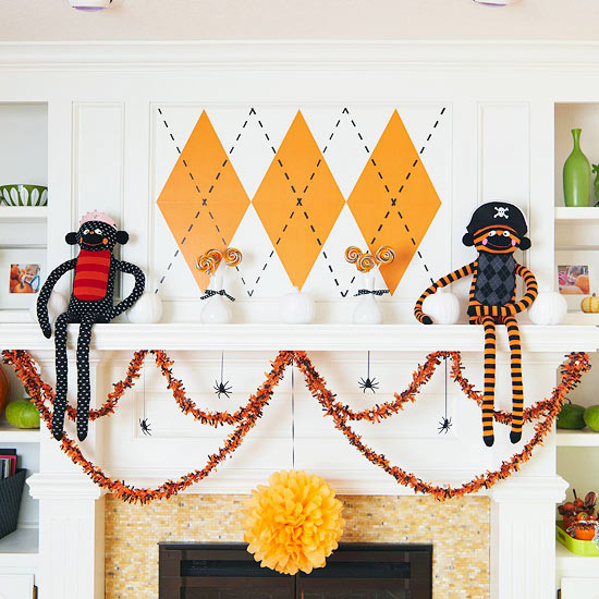 Halloween mantle with argyle pattern and sock monkeys