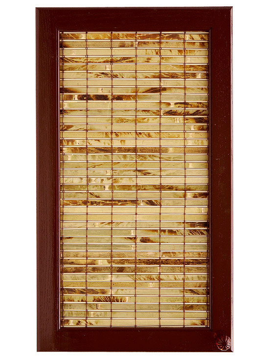 Bamboo table runner inset in cabinet door