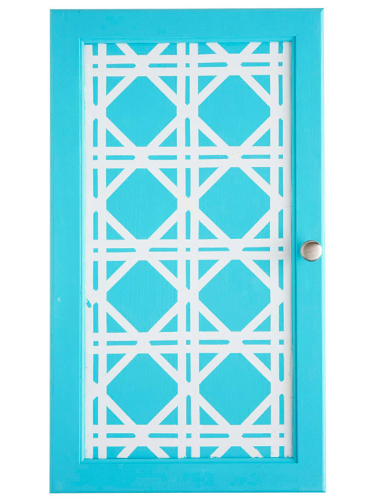 Blue door with white lattice pattern