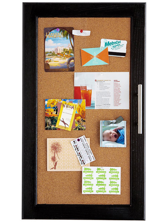 Corkboard  used as center on black door