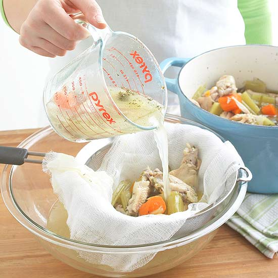 chicken broth how to: broth separation with cheese cloth