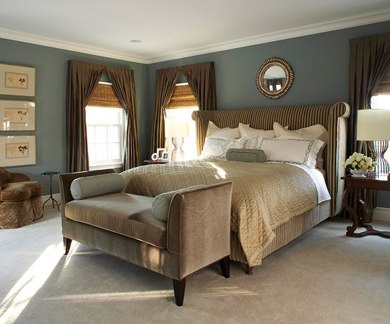 Bedroom with brown accents