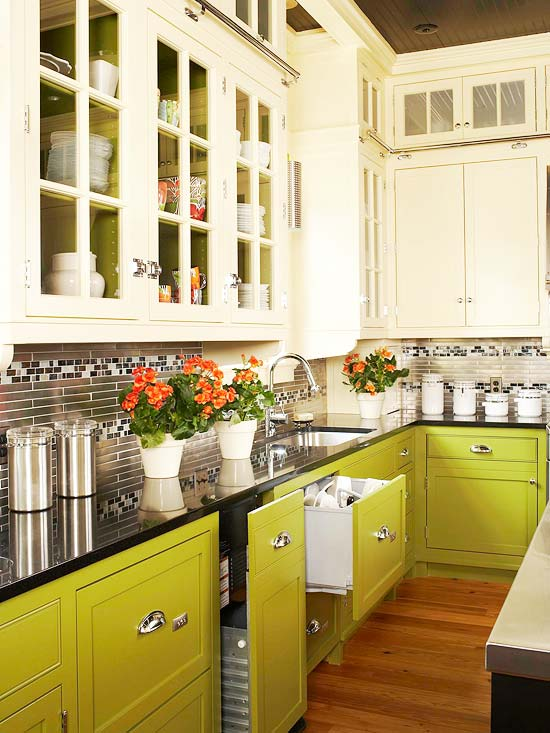 Mint And Yellow Kitchen