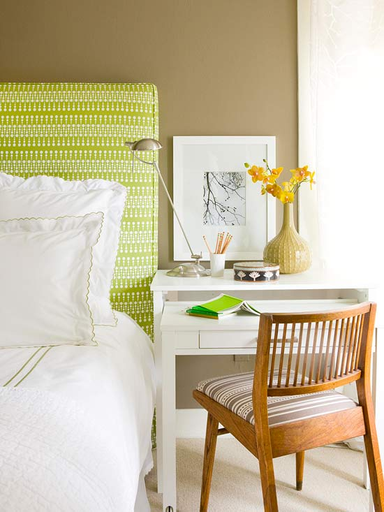 green-and-white upholstered headboard