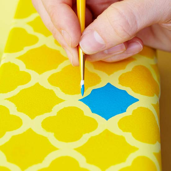 How To: Stencil a Metal Caddy | Better Homes & Gardens | 550 x 550 jpeg 30kB