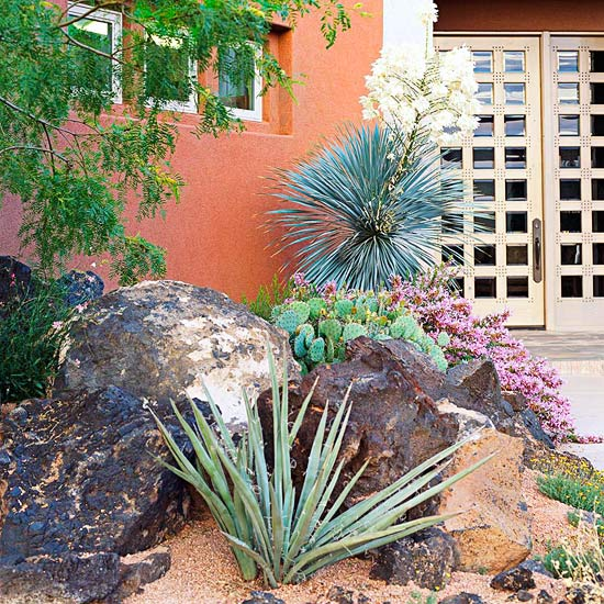 Easy care desert landscaping ideas better homes gardens for Easy care landscape design
