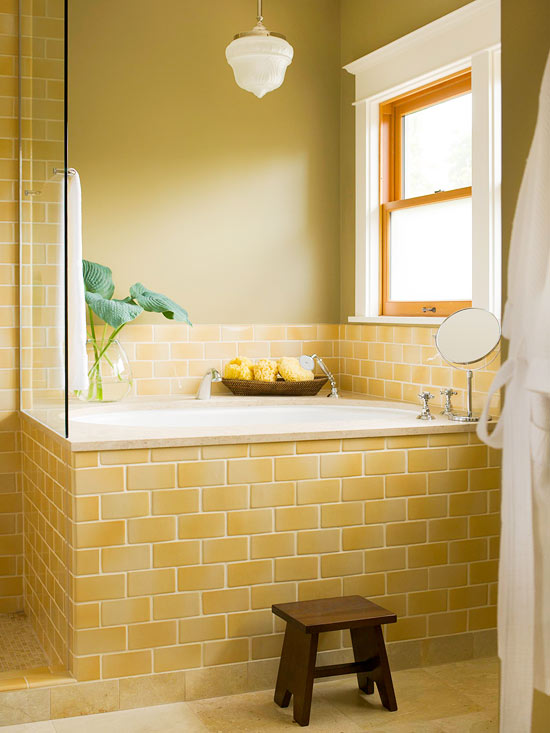Bathroom Ideas With Subway Tile Part - 35: Yellow Subway Tile