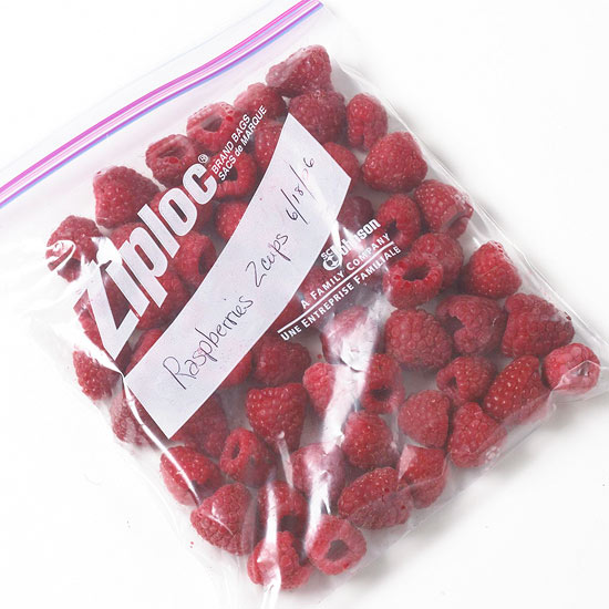 frozen berries in freezer bags