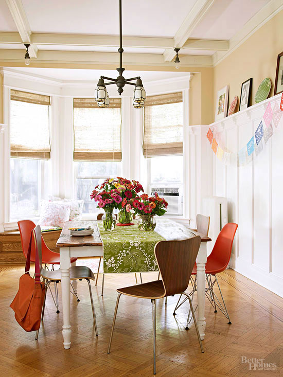 Casual dining room with paper flags