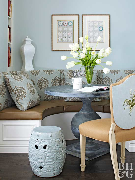 soothing blue corner banquette area