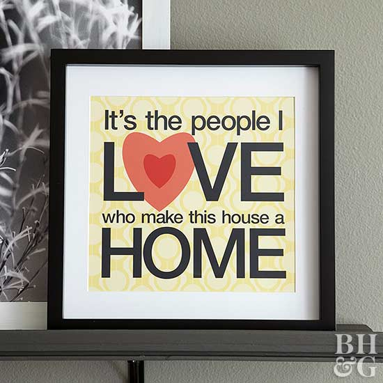 Love home artwork on display