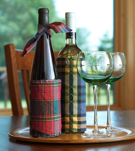 Flannel Wine Sleeve Gift