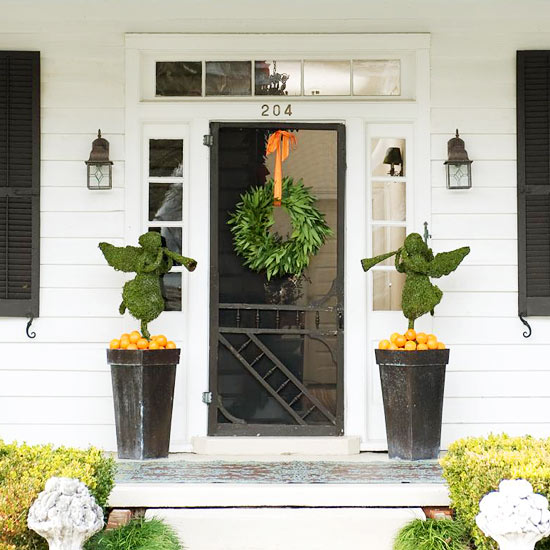 Orange and Green Christmas Front Porch