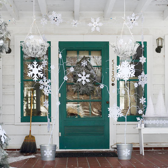 Silver and White Christmas Front Porch