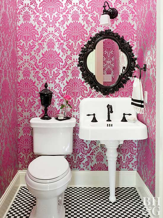 pink and silver damask print wallpaper bathroom with black accents