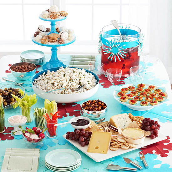 Holiday appetizer buffet spread