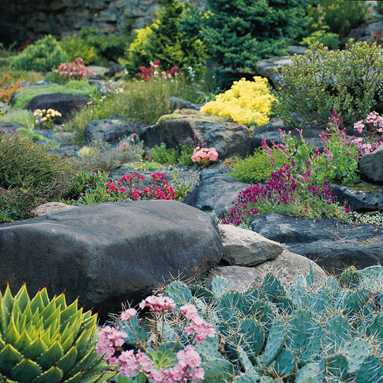 landscaping with rocks and stones better homes gardens. Black Bedroom Furniture Sets. Home Design Ideas