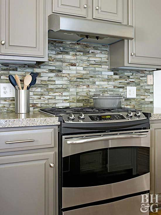recycled glass tile backsplash