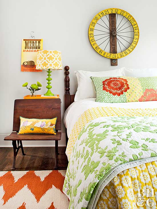 orange, green and yellow room