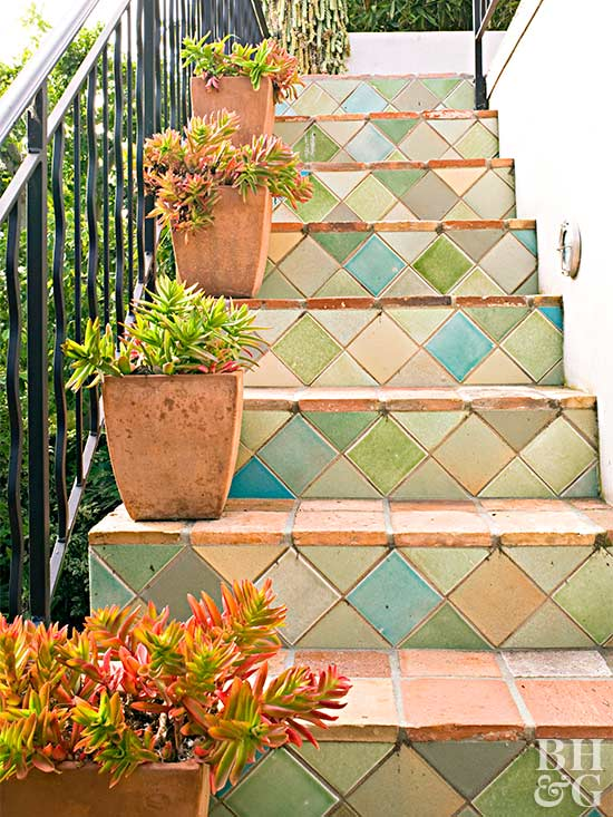 colorful terra cotta stairs project