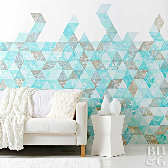 teal pattern wall