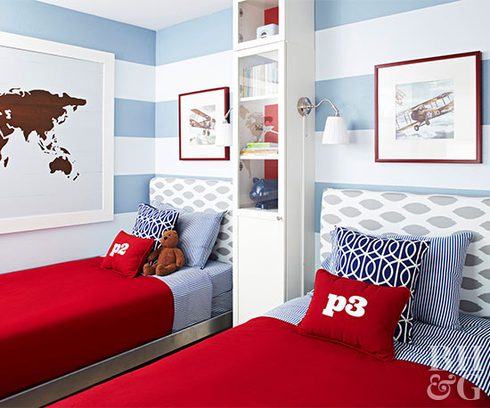 blue and white striped boy bedroom