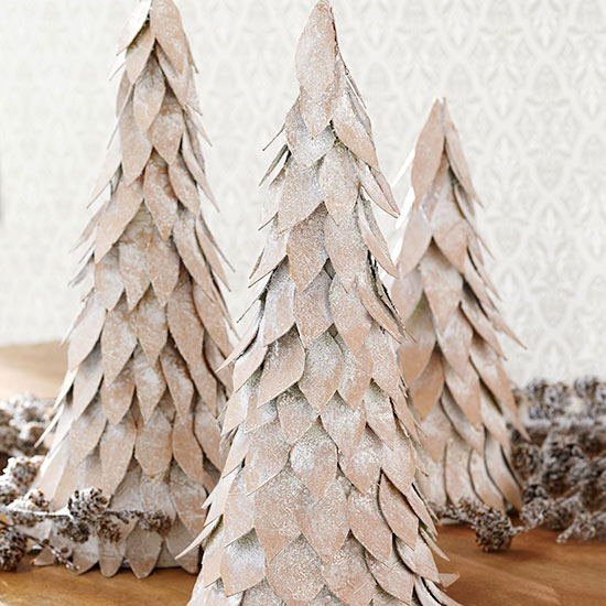 Snow-covered tabletop Christmas tree