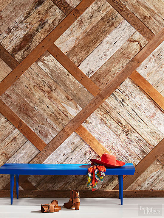 Wood wall with blue bench and cowboy hat and boots