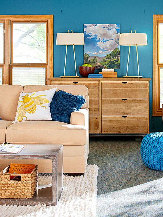 What Goes With - Oak Cabinets, Wood Floors, Blue, Brown