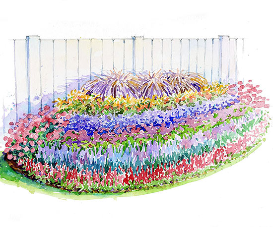 Purple Border Garden Illustration