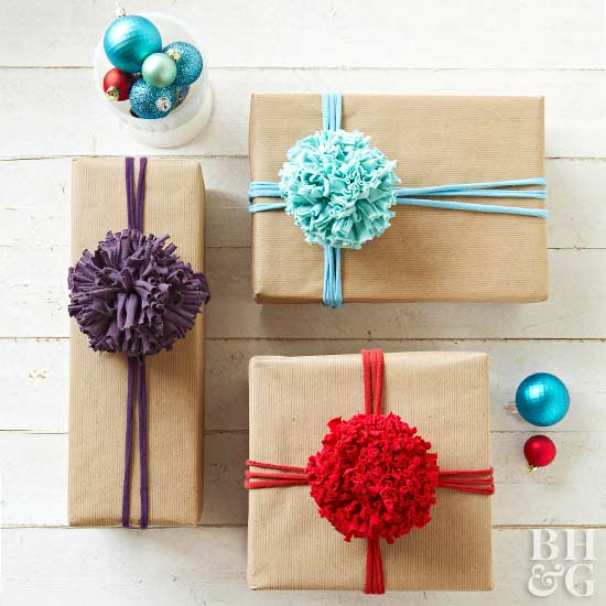 t-shirt pom-poms on packages