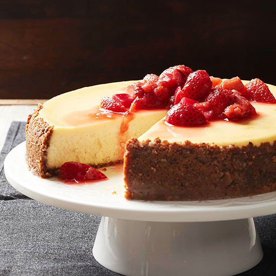 Mascarpone Cheesecake with Strawberry-Rhubarb Compote