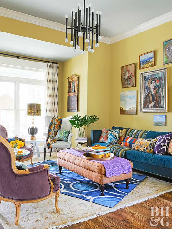 living room with mustard-yellow walls