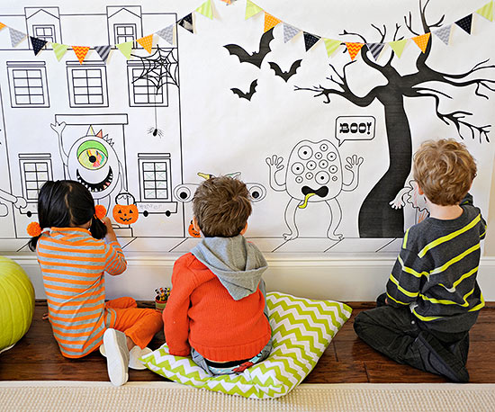 Halloween Coloring Wall for Kids