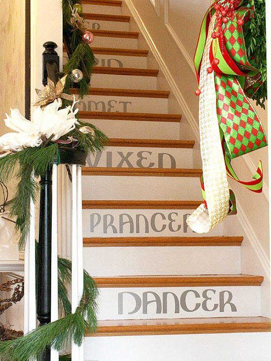 Holiday Stenciled Staircase