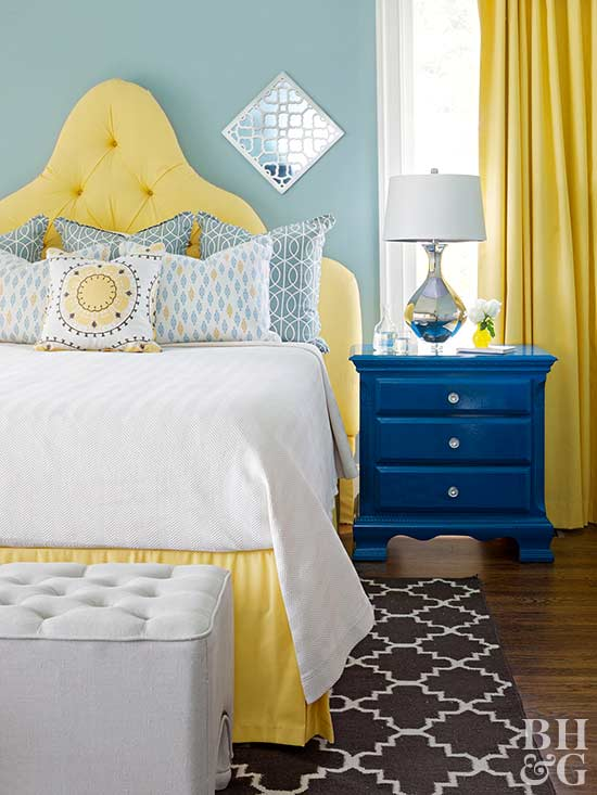 blue and pale yellow bedroom