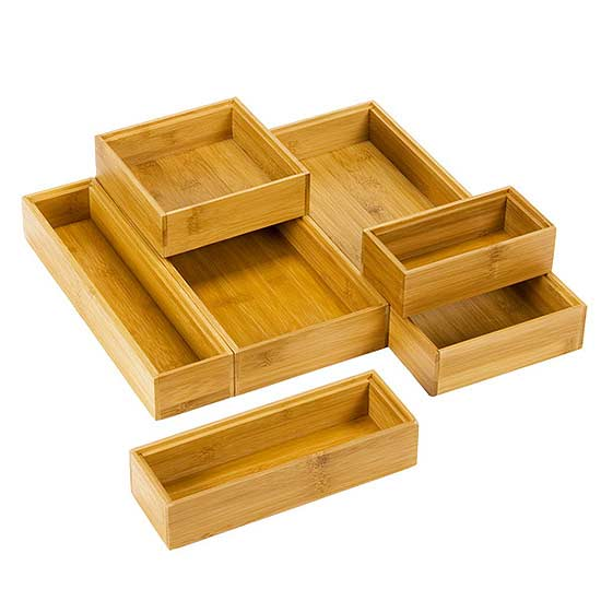 small kitchen storage -Stackable Bamboo Drawer Organizer